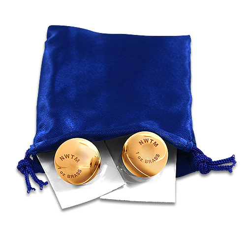 Solid Brass Balls with Silk Purse