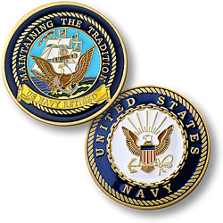 Navy Retired - Enamel
