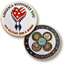 America Supports Our Troops - Enamel
