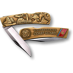 Coast Guard Lockback Knife - Small Bronze Antique