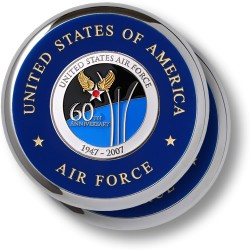 Air Force 60th Anniversary Chrome 2 Coaster Set