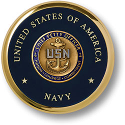 Navy Chief Petty Officer Brass Coaster
