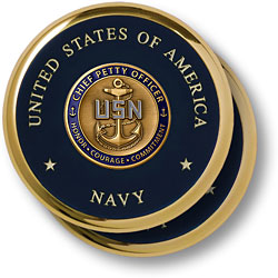 Navy Chief Petty Officer Brass 2 Coaster Set