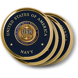 Navy Chief Petty Officer Brass 4 Coaster Set