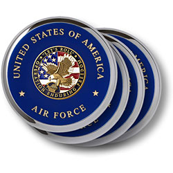 Air Force Enduring Freedom Chrome 4 Coaster Set