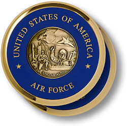 Air Force Theme Brass 2 Coaster Set