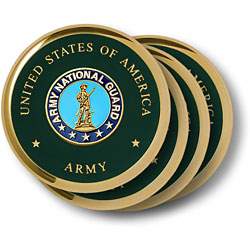 Army National Guard Brass 4 Coaster Set