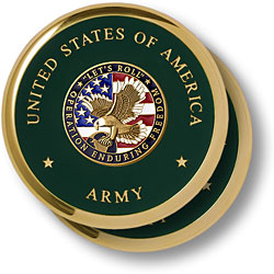 Army Enduring Freedom Brass 2 Coaster Set