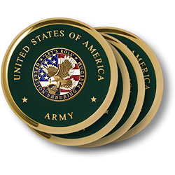Army Enduring Freedom Brass 4 Coaster Set