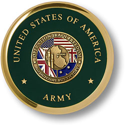 Army Iraqi Freedom Brass Coaster