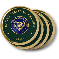 Army Reserve Brass 4 Coaster Set