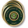 Army Seal Brass 4 Coaster Set
