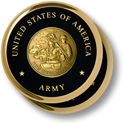 Army Theme Brass 2 Coaster Set