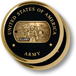 Army Montage Brass 2 Coaster Set