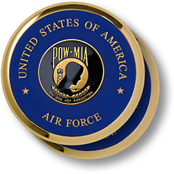 Air Force POW MIA Brass 2 Coaster Set