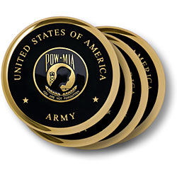 Army POW MIA Brass 4 Coaster Set