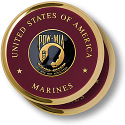 Marine POW-MIA Brass 2 Coaster Set