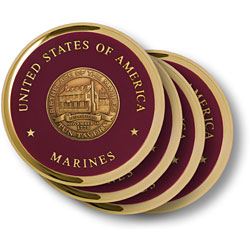 Marine Tun Tavern Brass 4 Coaster Set