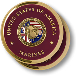 Marine Operation Iraqi Freedom Brass 2 Coaster Set