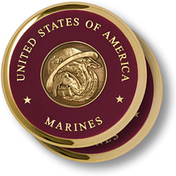 Marine Bull Dog Brass 2 Coaster Set