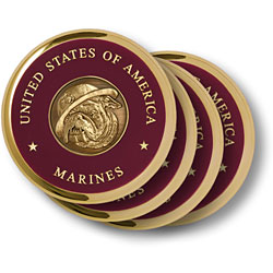 Marine Bull Dog Brass 4 Coaster Set