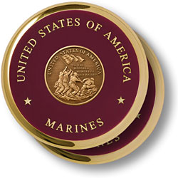 Marine Iwo Jima Brass 2 Coaster Set