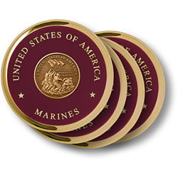 Marine Iwo Jima Brass 4 Coaster Set