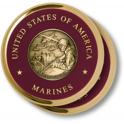 Marine Theme Brass 2 Coaster Set