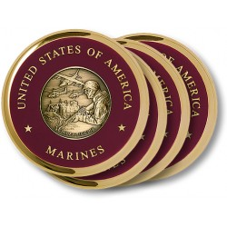Marine Theme Brass 4 Coaster Set