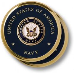 Navy Seal Brass 2 Coaster Set