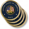 Navy Don't Tread on Me Brass 4 Coaster Set
