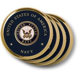 Navy Seal Brass 4 Coaster Set