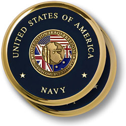 Navy Operation Iraqi Freedom Brass 2 Coaster Set