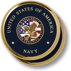 Navy Operation Enduring Freedom Brass 2 Coaster Set