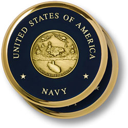 Navy Theme Brass 2 Coaster Set