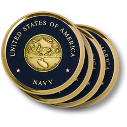 Navy Theme Brass 4 Coaster Set
