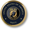 Navy POW-MIA Brass Coaster