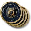 Navy POW-MIA Brass 4 Coaster Set