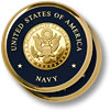 Navy Great Seal Brass 2 Coaster Set
