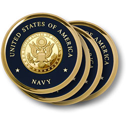 Navy Great Seal Brass 4 Coaster Set