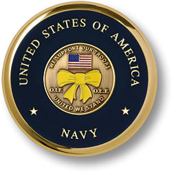 Navy United We Stand Brass Coaster