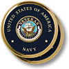 Navy Veteran Brass 2 Coaster Set