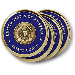 Coast Guard Shield 4 Coaster Set