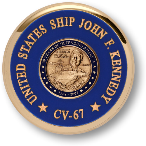 United States Navy USS John F Kennedy Brass Coaster Desk Medal Challenge Coin