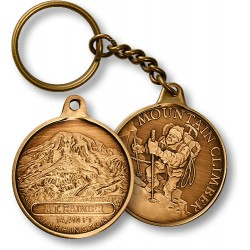 Mt. Rainier Mountain Climber Keychain Bronze Antique