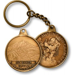 Mt. Baker Mountain Climber Keychain Bronze Antique