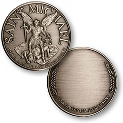 Saint Michael - Engravable Nickel Antique