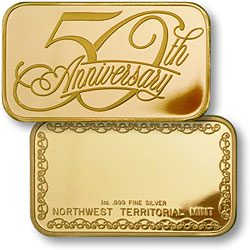 50th Anniversary Bar Gold Plated