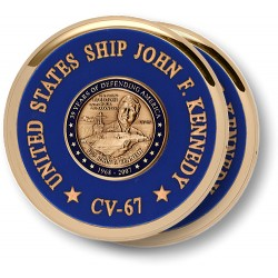 USS John F. Kennedy Coaster Brass 2 Coaster Set