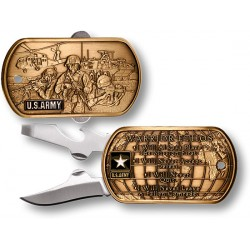 US Army Warrior Ethos Dog Tag Pocket Knife